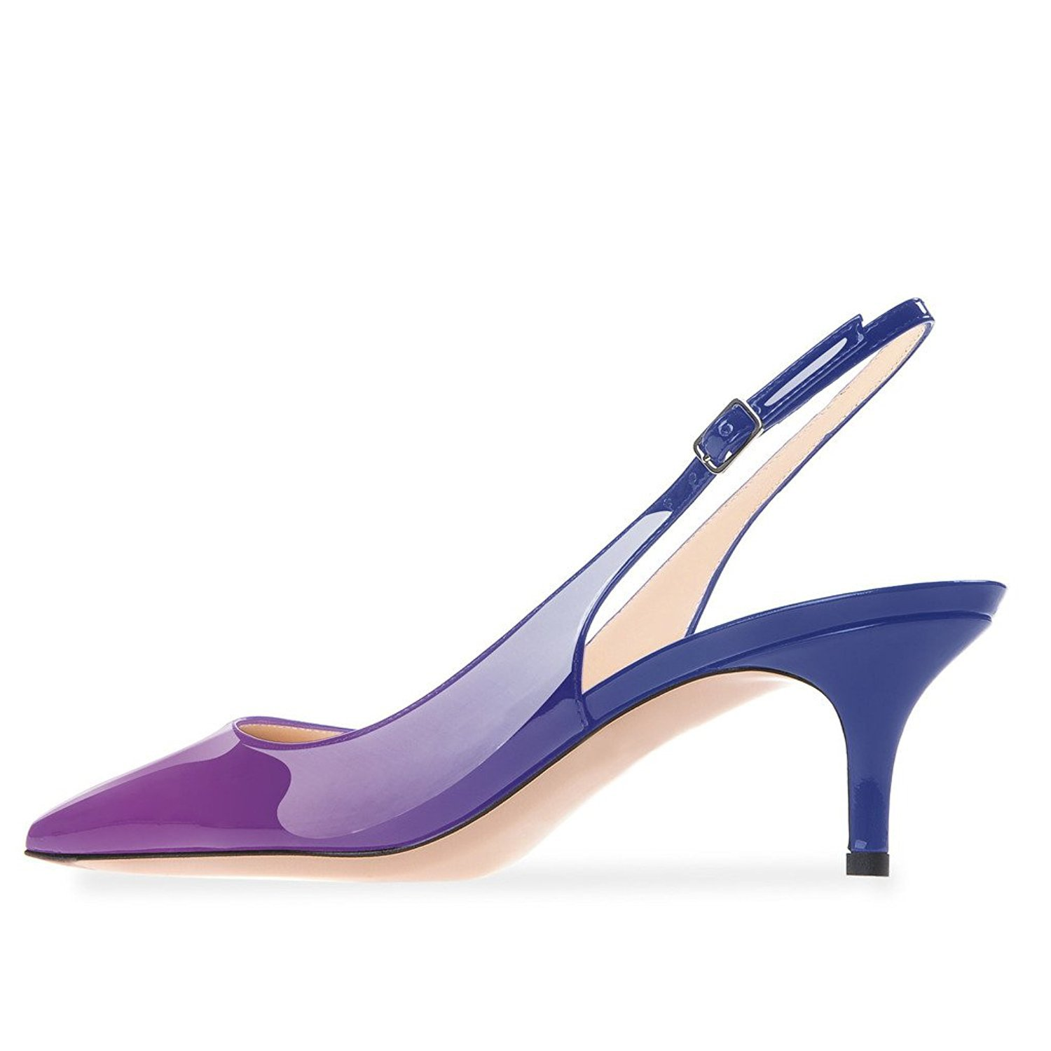 Lovirs Womens Slingback Ankle Strap Sandals Stiletto Mid-Heel Pointy Toe Pumps Shoes for Party Dress B078TF341Q 5 B(M) US|Purple-blue
