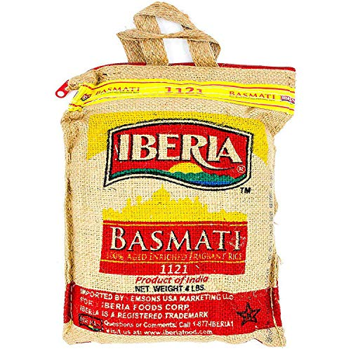 Iberia Basmati Rice, 4 Pound, Extra Long Grain, Naturally Aged Indian White Basmati Rice, Natural Basmati Rice in Burlap Bag with Zipper for Convenience