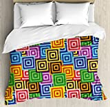 Modern Decor Duvet Cover Set by Ambesonne, Ethnic Africa Tribal Geometric Mosaic Like Design Colorful Vivid Lines Artwork, 3 Piece Bedding Set with Pillow Shams, King Size, Multicolor