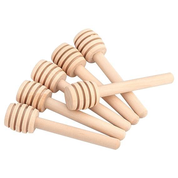 Walfront 50 Pcs Palillos de Madera de la Agitación para Revolver la Miel y Leche Condensada (8cm): Amazon.es: Hogar