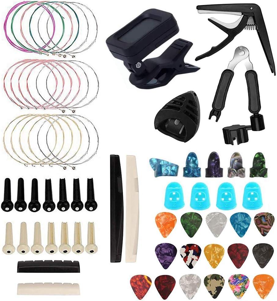 Gobesty Juego de accesorios para guitarra de 61 piezas, cejilla, púas, cuerdas de guitarra, guitarra acústica, púas de dedo, protección para la punta de los dedos, pegatinas de guitarra