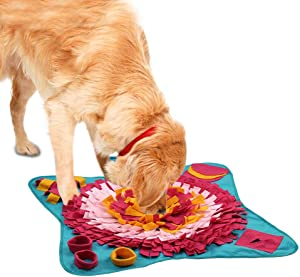 cocopet Dog Snuffle Mat Treat Potable Puzzle Slow Food Feeding Nosework Training Toy Non Slip Sniffing Relieve Stress Games No Choking Pet Bowl Machine Washable for Cat Puppy Doggie and Medium Dogs