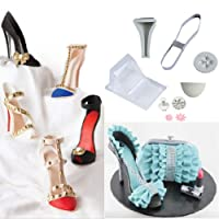 FOUR-C 14pc Fondant Cake Mold 3D High-heeled Shoes Kit Set Cake Decorating Supplies Chocolate Fondant Candy Mold