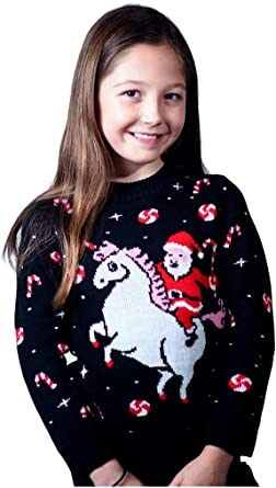 Santa Riding Unicorn Rainbow Ugly Christmas Toddler//Kids Sweatshirt