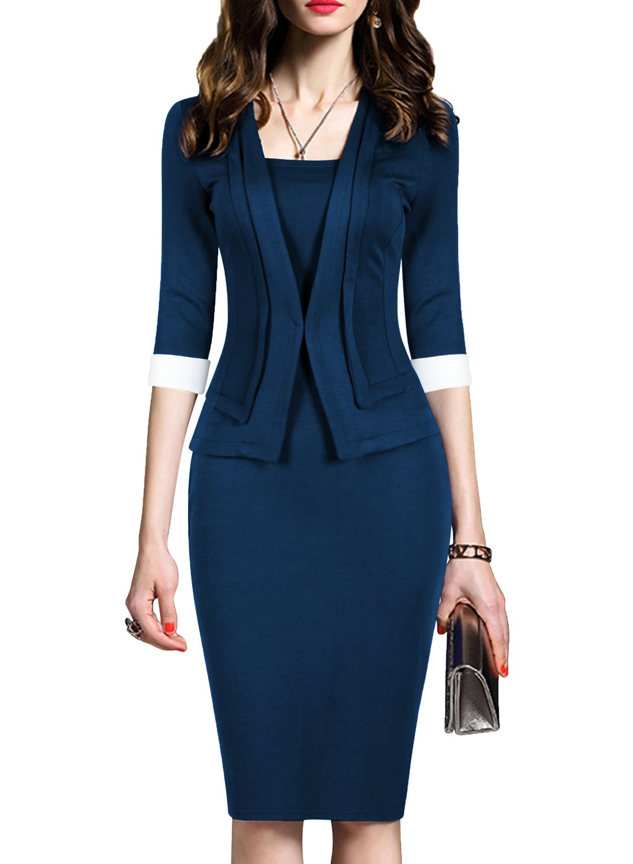 WOOSEA Women's 2/3 Sleeve Colorblock Slim Bodycon Business Pencil One-Piece Dress (Navy Blue, Medium)