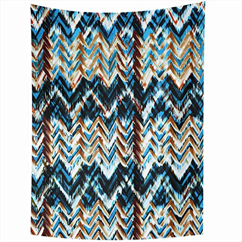 Ahawoso Tapestry 60x90 Inch Aztec Blue Tribal Geometric Pattern Abstract Indigo Line Brown Geo Floral Dark Neon Wall Hanging Home Decor for Living Room Bedroom Dorm