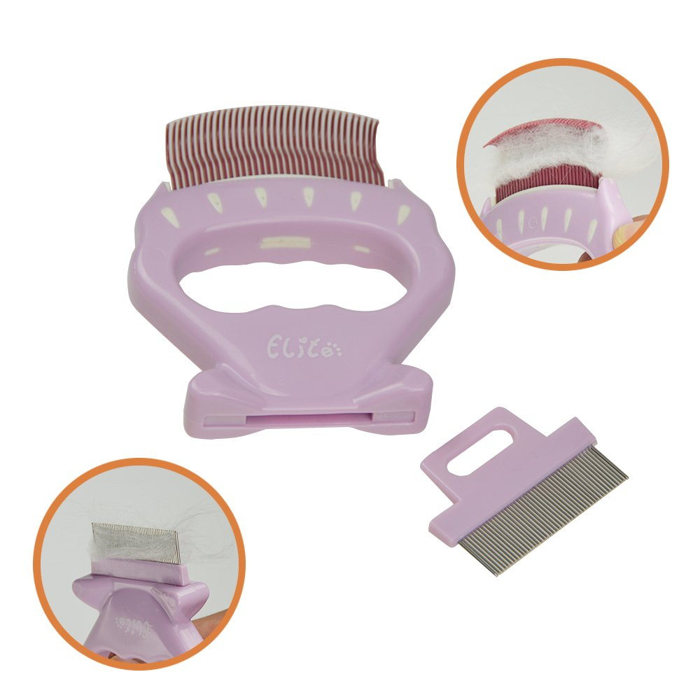 ihomiong Pet Shell Design Brush Dog Fur Remover Cat Hair Shedding Tool Grooming Comb,Brown Teeth