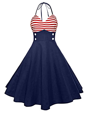 Pin Up Girl Costumes | Pin Up Costumes ZAFUL Womens 50s Vintage Rockabilly Halter Neck Dress Swing Tea Dress Party Cocktail Gown $29.99 AT vintagedancer.com