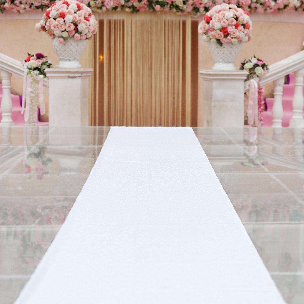 TRLYC 24/36/48da 15/4,9m bianco paillettes corridoio Shimmer Aisle runner per matrimoni, feste di compleanno, Altro, White, 24inch x 15ft