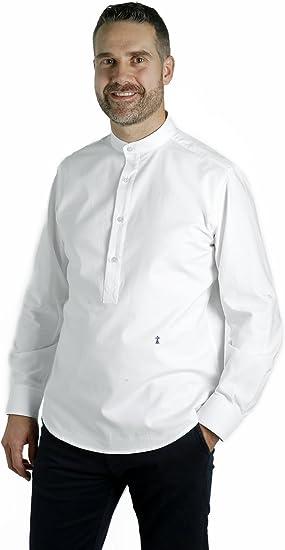 Camisa Blanca Cuello Mao (M): Amazon.es: Ropa y accesorios