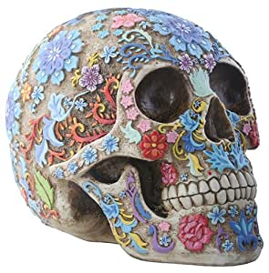 Day of The Dead Sugar Skull Colorful Floral Skull Statue