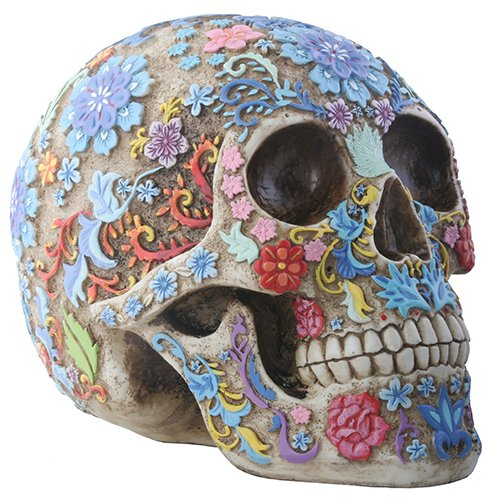 Day of The Dead Sugar Skull Colorful Floral Skull Statue>