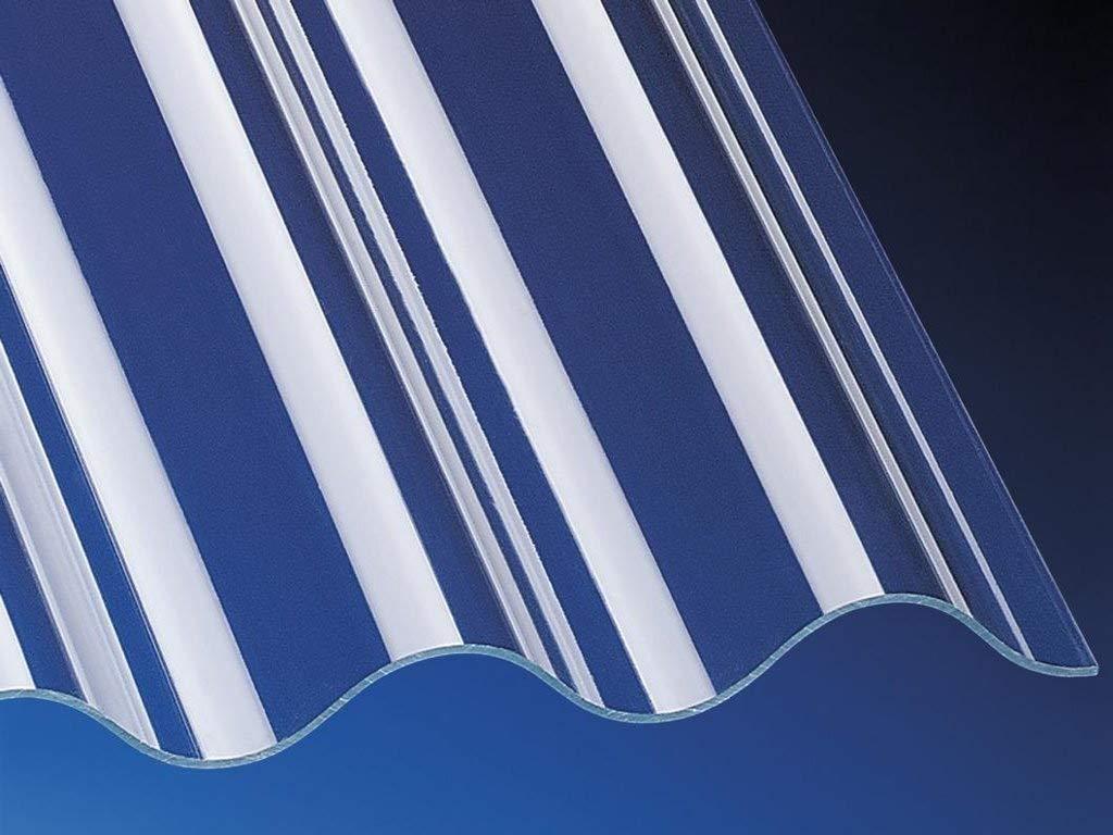 glasklar glatt 1045mm x 3500mm 3mm Stark Plexiglas/®-Rohmasse Highlux/® Acrylglas-Profilplatte Wellplatte Lichtplatte Sinus 76//18