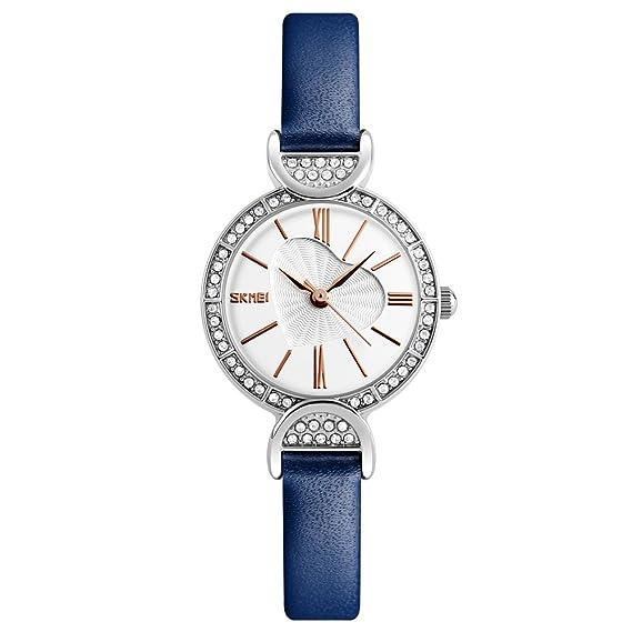bozlun Niñas relojes mujer elegante reloj analógico resistente al agua de cuarzo – Funda de piel
