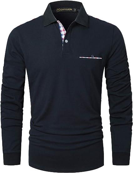 GHYUGR Polos Hombre Manga Larga Camiseta Bolsillo a Cuadros ...
