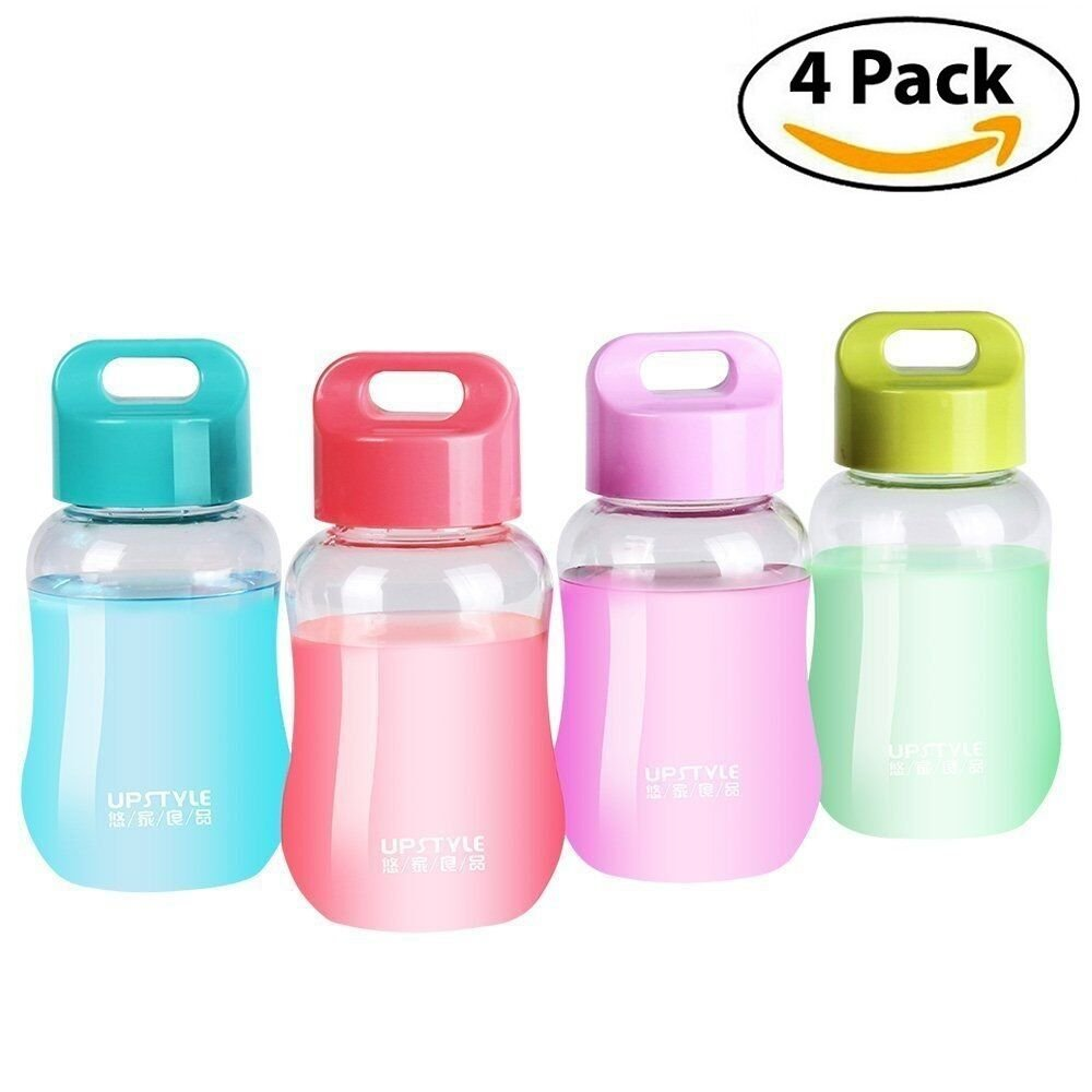 UPSTYLE 6oz Mini Small Plastic Juice Travel Mugs Wide Mouth Portable Sports Water Bottles for kids Milk/Coffee/Tea Cups also Kitchen Small Storage Bottles just 180ml (4 Transparent)