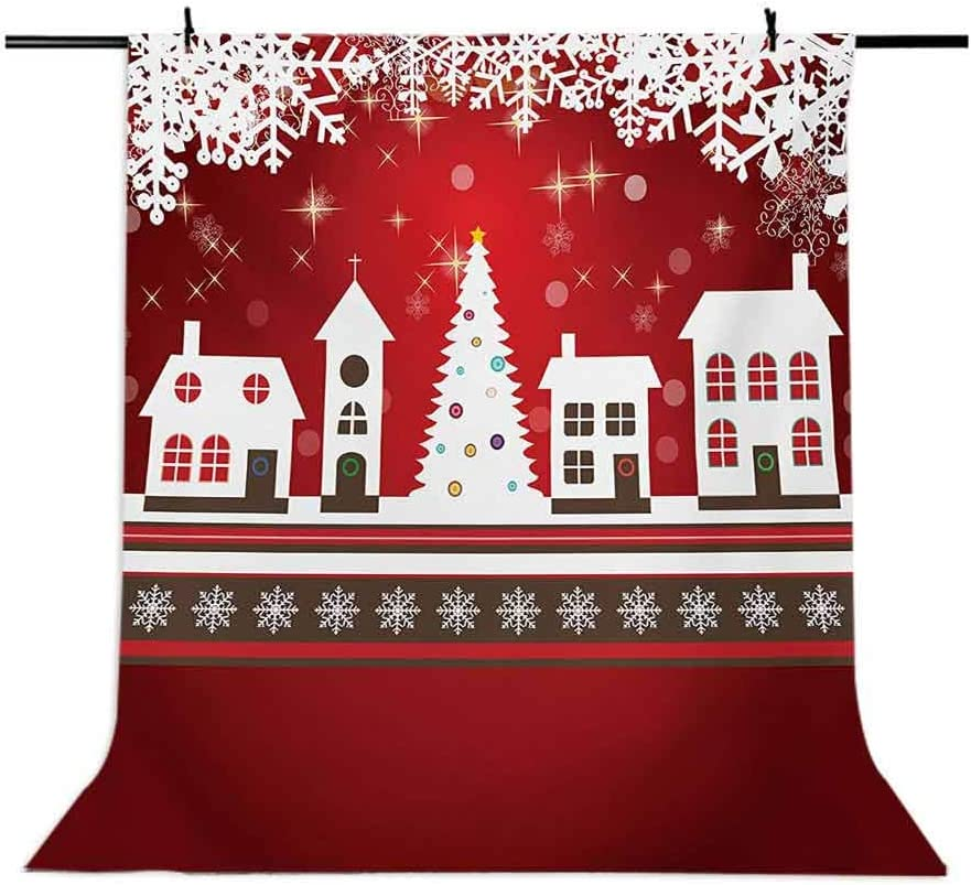 10x12 FT Photo Backdrops,Winter Holidays Theme Gingerbread House with Trees and Snowflakes Artwork Print Background for Kid Baby Boy Girl Artistic Portrait Photo Shoot Studio Props Video Drape Vinyl