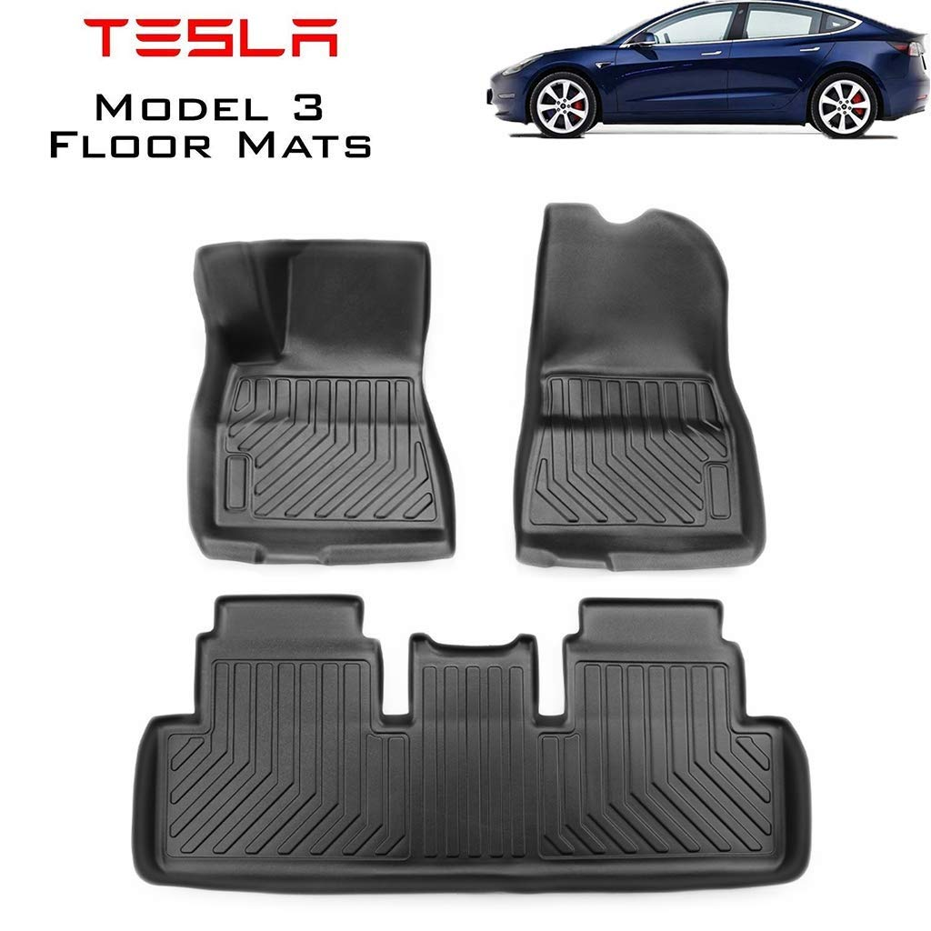 Hiyougen Floor Mats Set for Tesla Model 3, Car Carpet Pad Mat All-Weather Waterproof Non Slip Floor Mats 3D Liners Complete Set, Black by Hiyougen