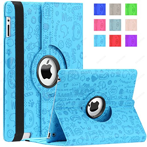 SAVEICON Cute Cartoon 360 Degrees Swivel Rotating PU Leather Case Smart Cover for New iPad Mini 7.9 Inch Wifi 3G 4G LTE with Stand and Sleep/Wake Function Built-in Magnetic (iPad Mini, Neon blue) (Built In 3g Tablet)