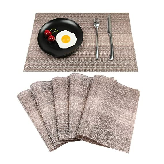 Homcomoda Vinyl Placemats for Dining Table Heat Insulation Place Mats Woven Washable Kitchen Table Mats Set of 6-(Coffee… -  - placemats, kitchen-dining-room-table-linens, kitchen-dining-room - 61ByRRWHwML. SS570  -
