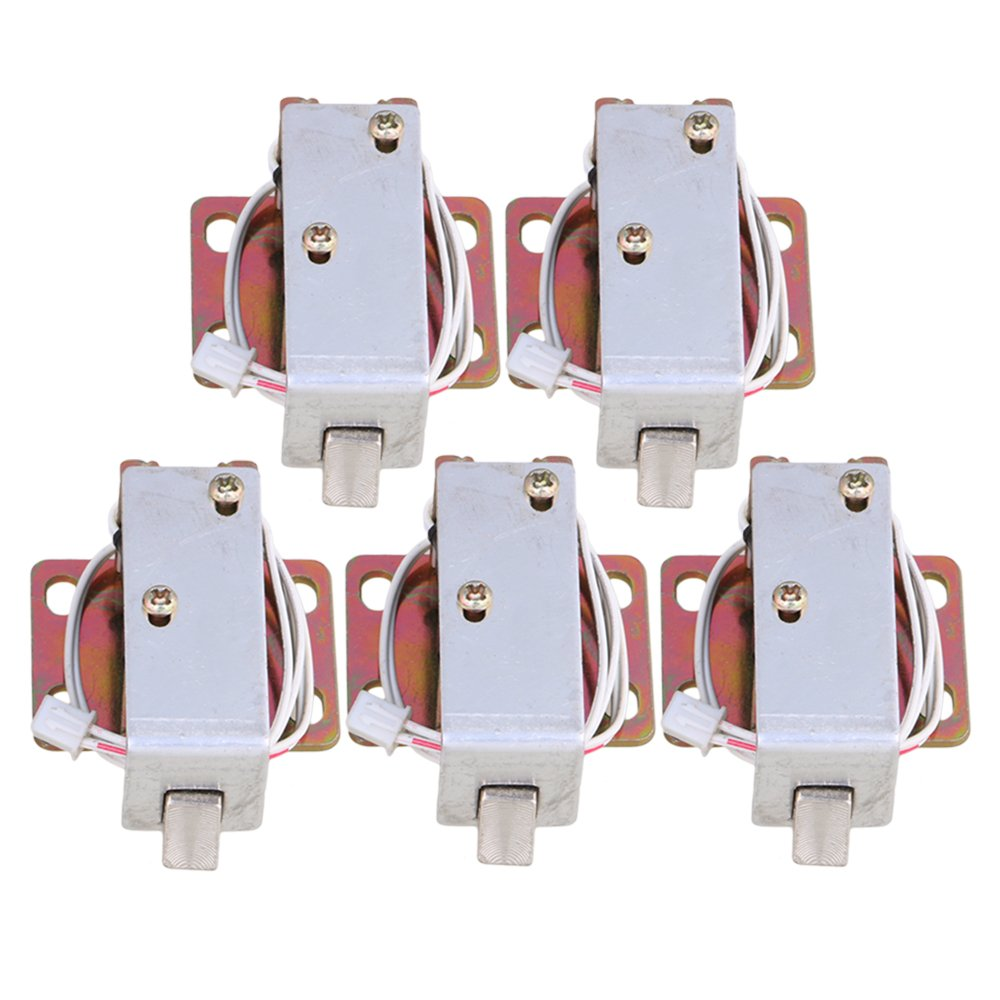 Mxfans 5Pieces TFS-A11 Stainless Steel Electric Lock Assembly Solenoid for Cabinet Door