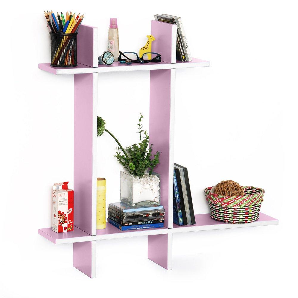 Trista - [Pale Pink-B] Leather Cross Type Shelve / Book Shelve / Floating Shelve (4 pcs)