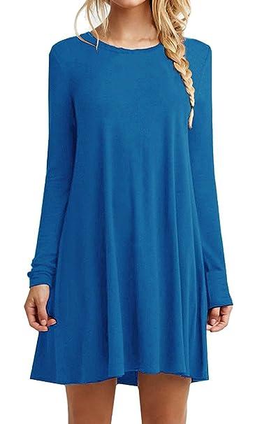 iPretty Mujeres Casual manga larga suelta larga camiseta Tee Top Blusa vestido