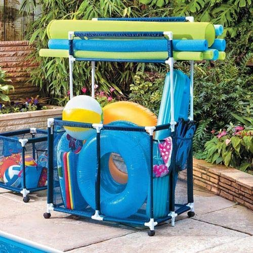 CUORE BANGKOK Large Pool Storage Bin Rolling Swimming Float Toys Noodle Holder Shelf Mesh Cart by CUORE BANGKOK (Image #2)
