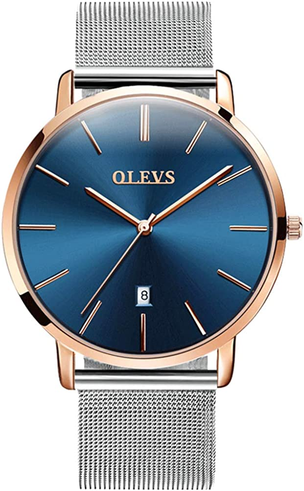 OLEVS Men s Ultra Thin Minimalist Slim Big Face Date Dress Wrist Watches Waterproof Male Simple Business Casual Blue Large Dial Rose Gold Bezel Analog Quartz Watch with Classic Mesh Milanese Band Gift