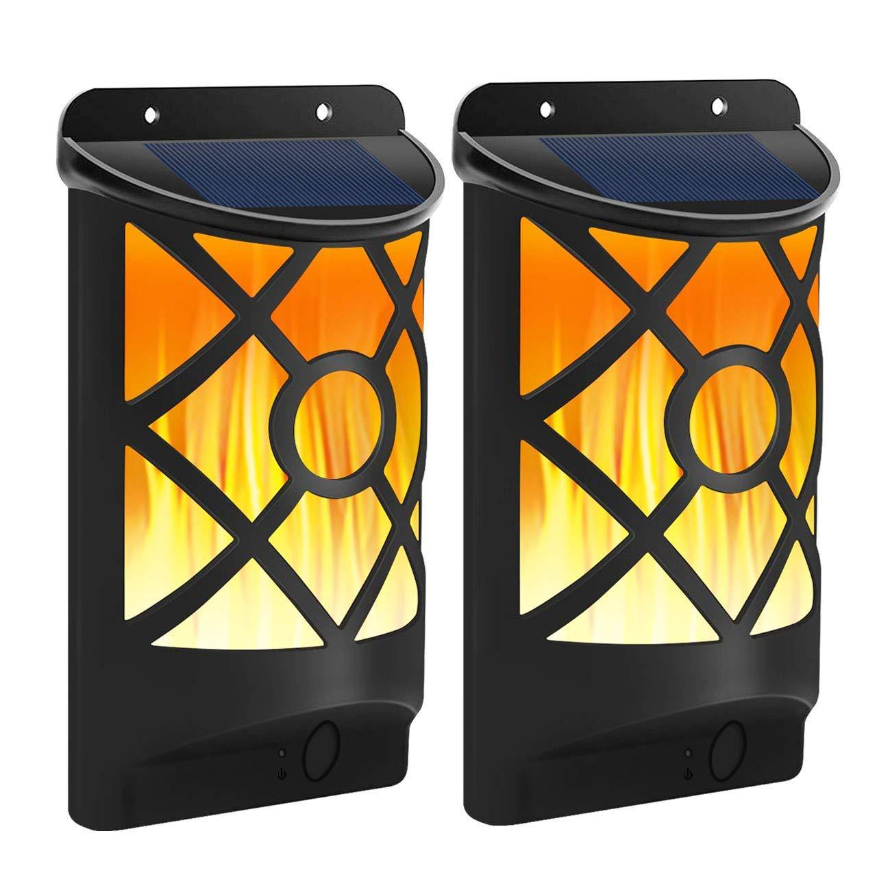 102 LED Solar Leuchte Solarlampe Gartenlicht Wandleuchte Flamme Außenleuchte NEU