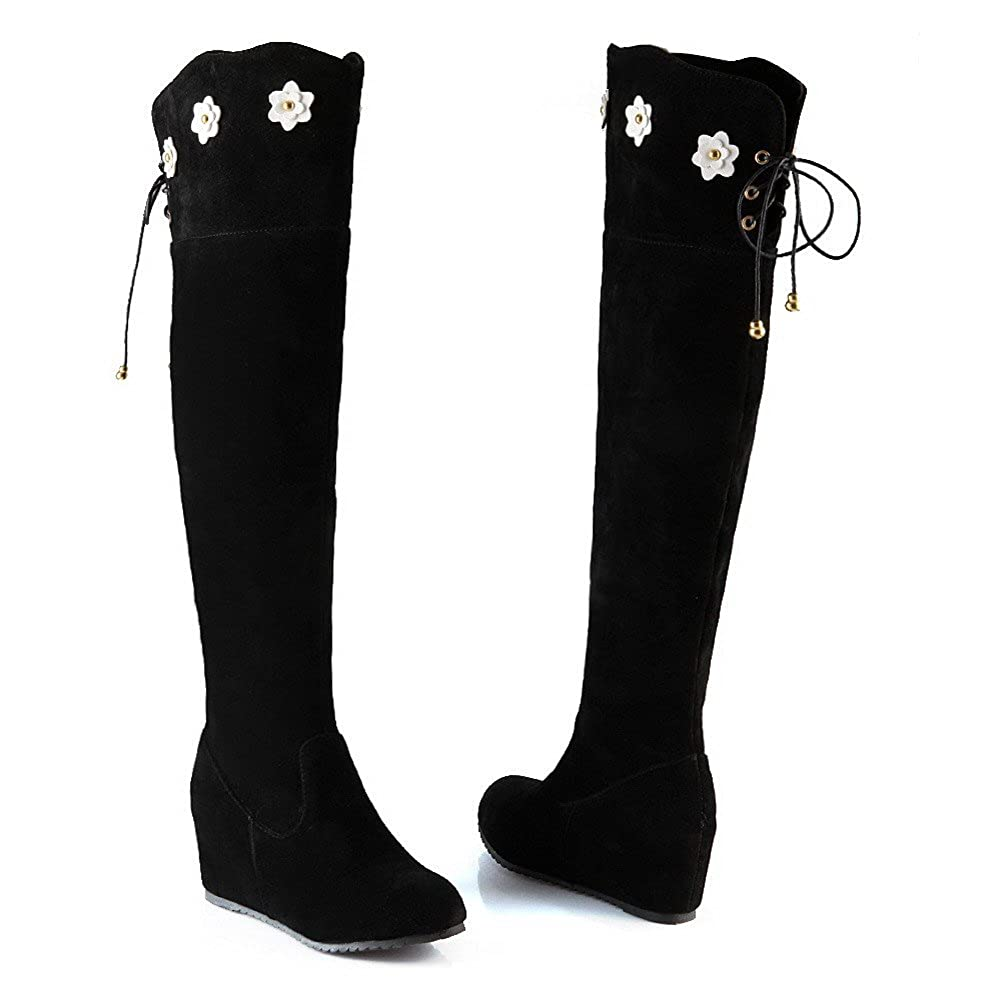 VogueZone009 Womens Round Closed Toe Kitten Heels Xi Shi Velvet Solid Boots with Flower