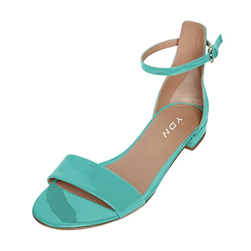 a5d8818a YDN Womens Chic Block Low Heel Sandals with Buckle Solid Ankle Strap Flat  Shoes Comfy Size
