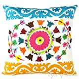 Eyes of India 16'' White Embroidered Colorful Decorative Sofa Cushion Couch Pillow Throw Cover Bohemian Indian Boho
