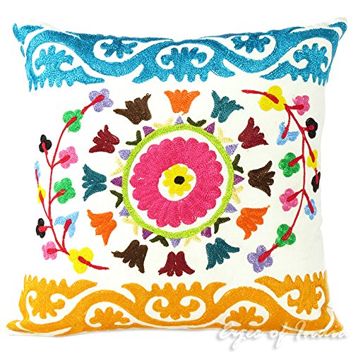 Eyes of India 16'' White Embroidered Colorful Decorative Sofa Cushion Couch Pillow Throw Cover Bohemian Indian Boho by Eyes of India