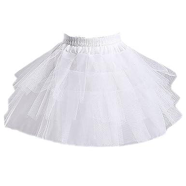 4faf09b3526 KekeHouse® Court 3 Couches Blanc Jupon de Enfant Fille pour Robe de Fille de  Fleur (Taille Unique