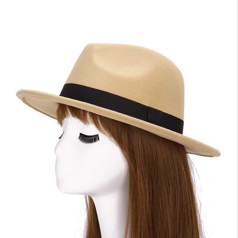 2019 New GD Style Soft Women Vintage Wide Brim Wool Felt Bowler Fedora Hat Floppy Cloche Panama Sun Hat