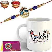 Tonkwalas Mug Rakhi Gift for Brother Combo Pack (Designer Rakhi, Printed Coffee Mug, Rakshabandhan Special Card, Roli Chawal)