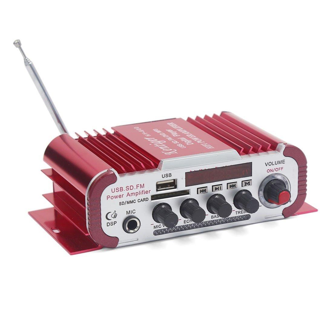 Amazon.com: eDealMax Mini Hi-Fi 40W 2 Canales amplificador Audio estéreo Rojo de la motocicleta del coche: Car Electronics