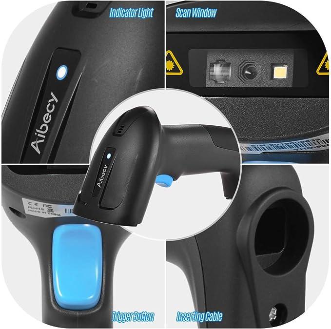 Aibecy Handheld USB Wired CMOS Image Barcode Scanner 1D 2D QR Bar Code Reader con cable USB Plug and Play para pago móvil Pantalla de computadora para supermercado Tienda minorista Almacén: Amazon.es: