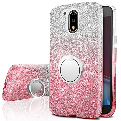 Cheap Moto G4/G4 Plus Case, Silverback Girls Bling Glitter Sparkle Case With 360 Rotating Ring Stand, Soft TPU Outer Cover + Hard PC Inner Shell Skin for Motorola Moto G4/G4 Plus Case -Pink
