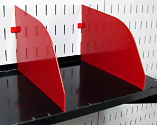 product image for Wall Control Pegboard Shelf Divider for 9in Deep Pegboard Shelf Assembly for use with Wall Control Pegboard and Slotted Tool Board – Red