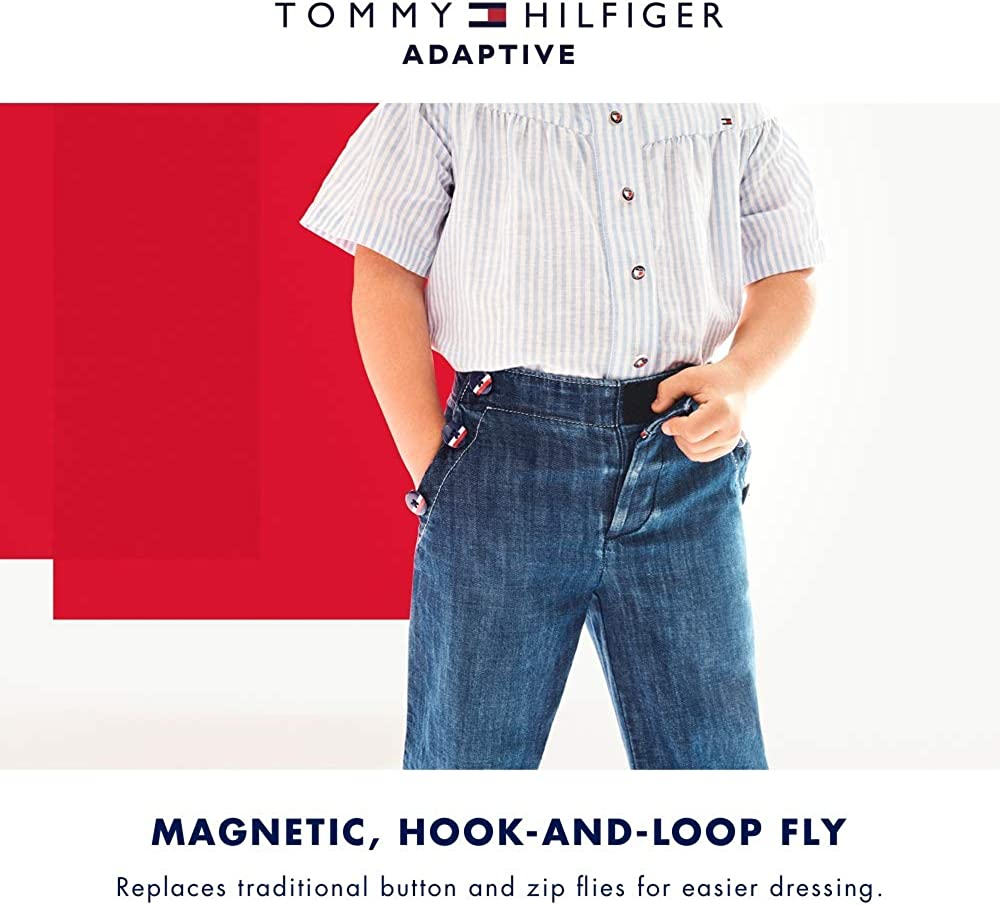 Tommy Hilfiger Girls Adaptive Relax Skinny Jeans with Elastic and Drawstring Waist