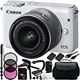 Canon EOS M10 Mirrorless Digital Camera with EF-M 15-45mm f/3.5-6.3 IS STM Lens (White) 19PC Accessory Kit - Includes 16GB Memory Card + MORE - International Version (No Warranty)