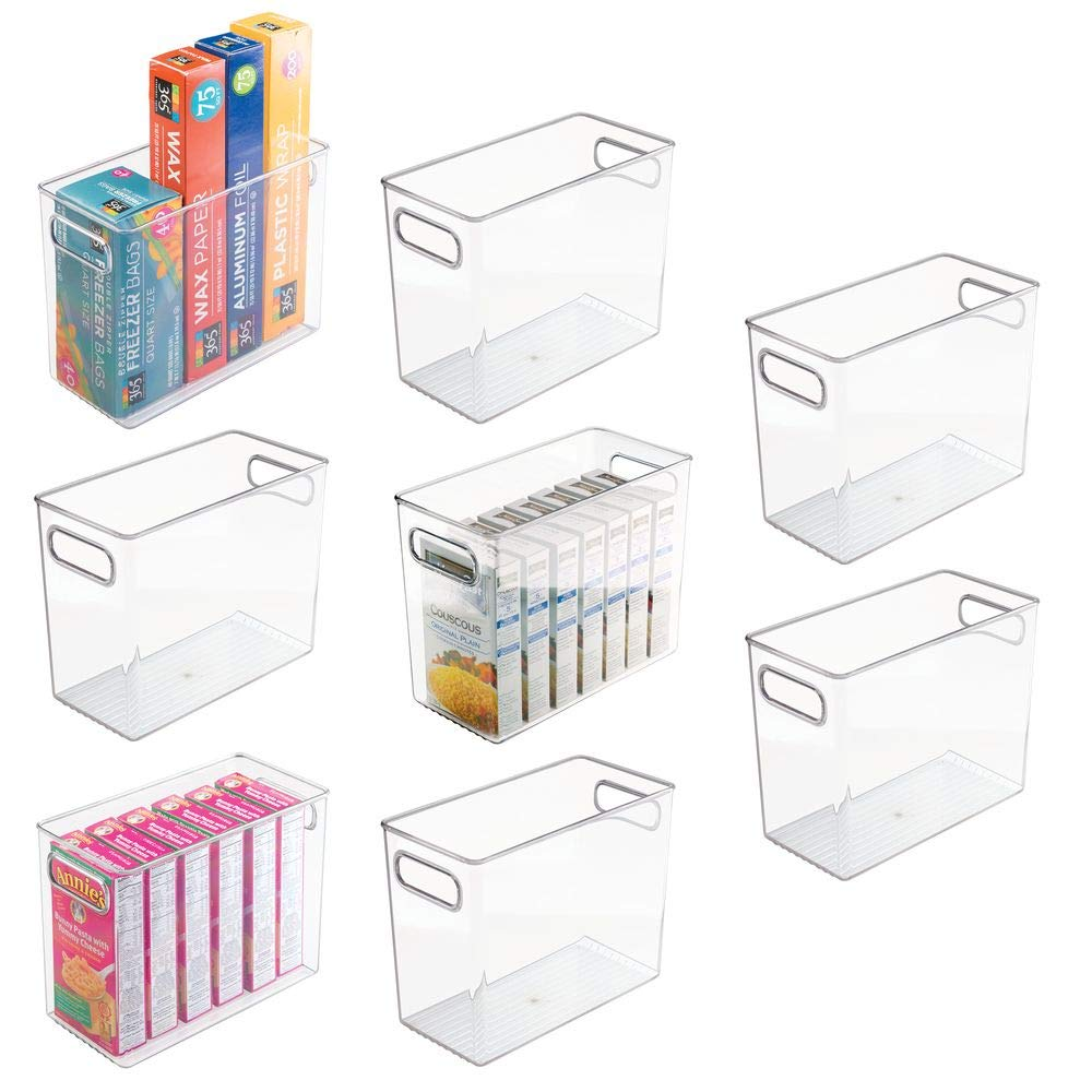 "mDesign Tall Plastic Kitchen Pantry Cabinet, Refrigerator or Freezer Food Storage Bin with Handles - Organizer for Fruit, Yogurt, Snacks, Pasta - Food Safe, BPA Free - 10"" Long, 8 Pack - Clear"