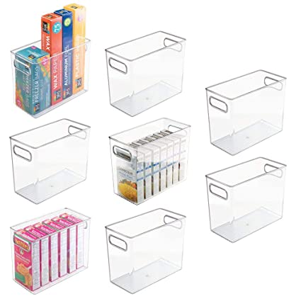 Mdesign Tall Plastic Kitchen Pantry Cabinet Refrigerator Or Freezer Food Storage Bin With Handles Organizer For Fruit Yogurt Snacks Pasta Food
