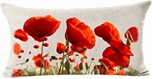 Enchanting Beautiful Red Poppy Flowers Garden Gift Anniversary Day Present Cotton Linen Home Office Decorative Throw Waist Lumbar Pillow Case Cushion Cover Rectangle 12 X 20 Inches