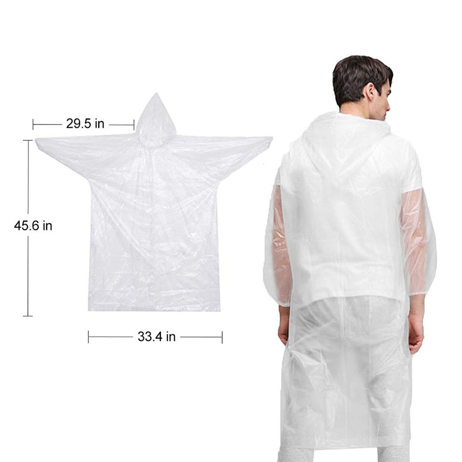 GYORGKSHI Disposable Rain Ponchos, Clear Adult Raincoat with Drawstring Hood, Emergency Lightweight Poncho for Men Women (6 Pack)