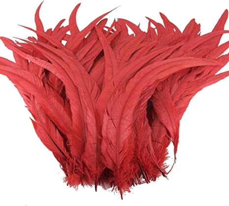Shekyeon 16-18inch 40-45cm Rooster Coque Tail Feather for Costume Decoration Pack of 20 Red