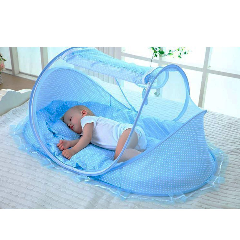LOHOME Zippered Baby Mosquito Net - Free-installation Crib Mosquito Bed Portable Travel Baby Tent with Zipper Door Folding Baby Cots for 0-18 Month Baby Travel Bed (Blue.)