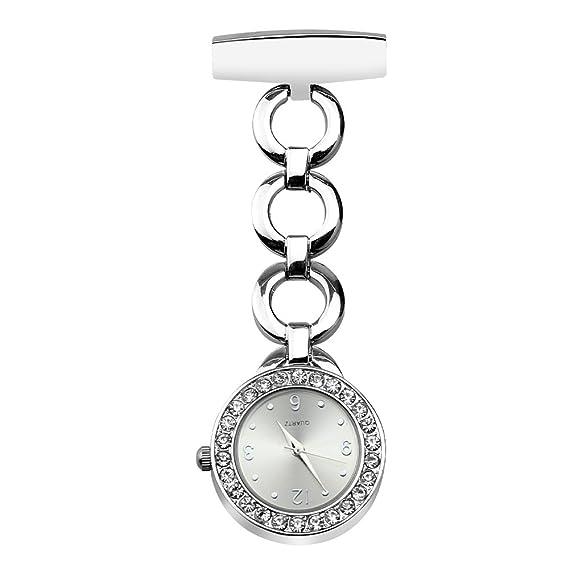 Jhua Reloj de enfermera con broche de pincho, reloj de bolsillo para enfermera, cuarzo